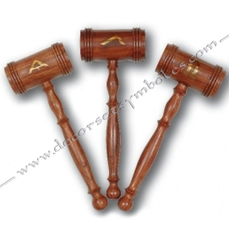 OUT 010-maillets-maconniques-bois-decors-symboles-venerable-1er surveillant-2nd surveillant-outils-loge-accessoires-fm