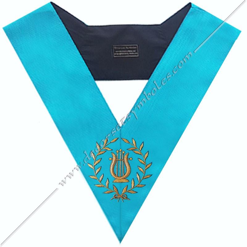 SRF 072 - Maitre de Musique, sautoir d'officier du RF groussier, acacia, décors maçonniques, bijoux, franc maçonnerie