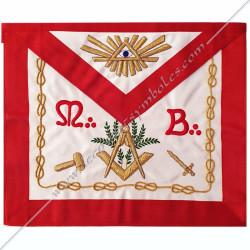Tablier maçonnique de Vénérable Maitre du REAA. Décors franc-maçonnerie, équerre, compas, feuilles acacia, fm