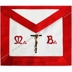 TRA 438R - Tablier maçonnique de Vénérable Maitre du REAA, décors de franc-maconnerie fait main, symboles fm