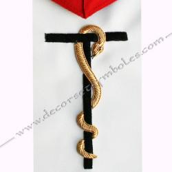 Tablier maçonnique, décors franc maçonnerie, symbole, T, serpent, or, accessoires, loges, REAA, rouge
