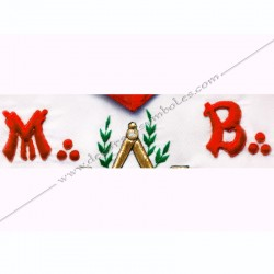Tablier maçonnique de Vénérable Maitre du REAA. Décors franc-maconnerie, équerre, compas, feuilles acacia