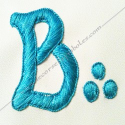 Tablier de maitre, rite français, turquoise, M, B, broderies main, décors maçonniques, symboles, cadeaux, bijoux