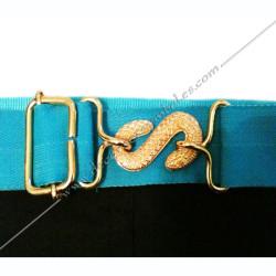 ceinture élastique turquoise, boucle serpent dorée, dos noir, franc maçonnerie, tablier, RF, accessoires