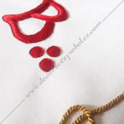Symbole maçonnique, décors, lac d'amour, broderies, rouge, franc maçonnerie, REAA, broderies fil d'or