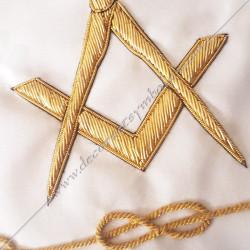 symboles maçonniques, équerre et compas, lac d'amour doré fil d'or,  décors franc maçonnerie, accessoires, gants, bijoux or