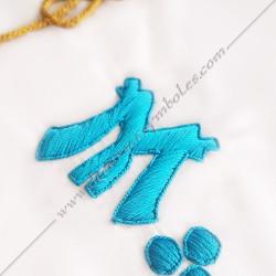 tablier de maitre, RF, symboles M et B, décors maçonniques, lac d'amour, équerre, compas, acacia, bijoux, cadeaux