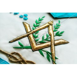tablier de maitre, RF, symboles M et B, décors maçonniques, lac d'amour, équerre, compas, acacia, FM, cadeaux