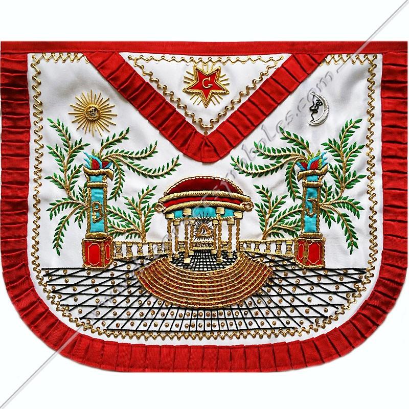 TRA334R -Tablier maçonnique de Vénérable Maitre du REAA. Mozart. Décors franc-maconnerie, symboles brodés or, cadeaux, prestige