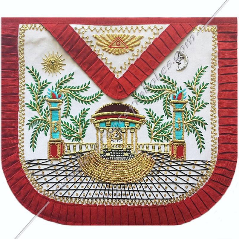 TRA 357R -Tablier maçonnique de Vénérable Maitre du REAA. Mozart. Décors franc-maconnerie, symboles brodés or, cadeaux, prestige