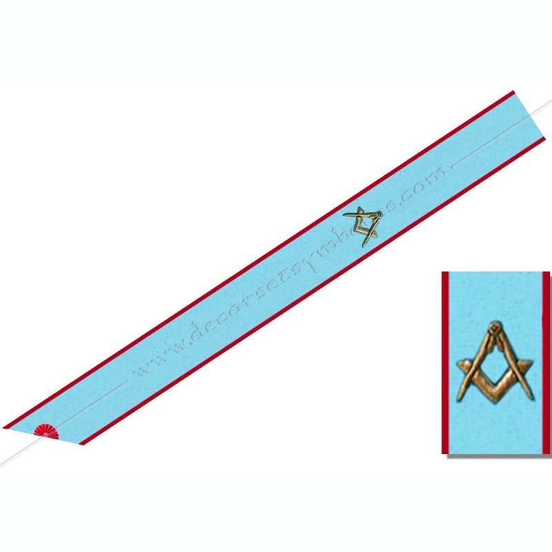 BRA 001 - Cordon de Maitre du Équerre et compas. Décors franc-maconnerie, bijoux de loges
