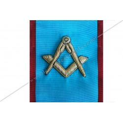 Cordon de Maitre, REAA, équerre, compas. Décors franc-maconnerie, bijoux, FM, décors maçonniques, broderies, mousqueton, bijoux