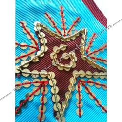 Cordon de Maitre, REAA, équerre, compas. Décors franc-maconnerie, bijoux, maçonniques, broderies étoile rouge, bijoux