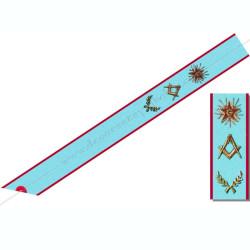 BRA 002 - Cordon de Maitre du Équerre et compas, étoile rouge, acacia. Décors franc-maconnerie du REAA, bijoux de loges