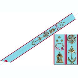 BRA 034 - Cordon de Maitre du REAA, symboles brodés, cadeaux prestiges, Décors franc-maconnerie, bijoux de loges