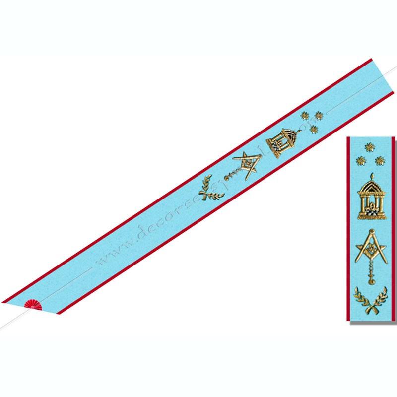 BRA 044 - Cordon de Maitre du REAA, symboles brodés, cadeaux prestiges, Décors franc-maconnerie, bijoux de loges