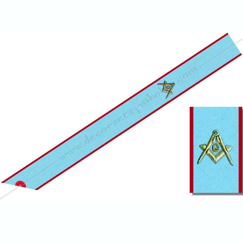 BRA 045 - Cordon de Maitre du REAA, symboles brodés, équerre, compas, G. Décors maçonniques, bijoux or