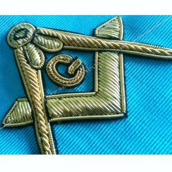 Cordon de Maitre du REAA, symboles brodés, équerre compas G, cadeaux maçonniques, bijoux, FM,