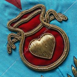 Hospitalier, sautoir d'officier du REAA, acacia, décors maçonniques, bijoux, franc maçonnerie, loges bleues, doré