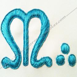 tablier, franc maçonnerie, dos noir, tête de mort, gants, poche, ceinture, élastique, m, b, broderie, décors loges bleues