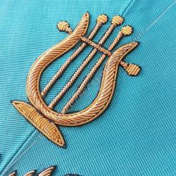 Maitre de Musique, sautoir d'officier du REAA, acacia, décors maçonniques, bijoux, franc maçonnerie, or, doré