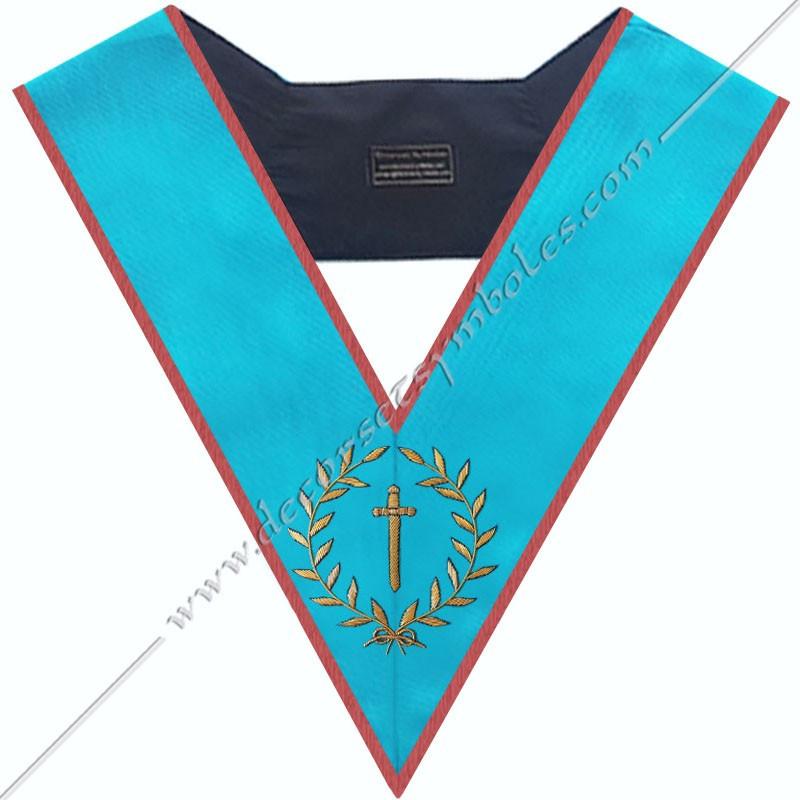 SRA 012 - Couvreur, sautoir d'officier du REAA, acacia, décors maçonniques, bijoux, franc maçonnerie, bijoux, or