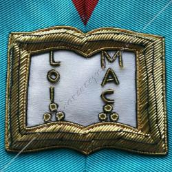 Orateur, sautoir d'officier du REAA, acacia, décors maçonniques, bijoux, franc maçonnerie, or, doré