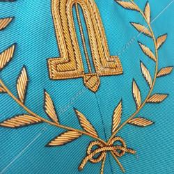 second surveillant, sautoir du REAA décors maçonniques, broderies, bijoux or, acacia, franc maçonnerie
