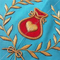 Hospitalier, sautoir du REAA décors maçonniques, broderies, bijoux or, acacia, franc maçonnerie