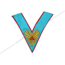 VRA 005R - Sautoir de Vénérable Maitre du REAA. Grande gloire, broderies or. Décors franc-maconnerie, bijoux