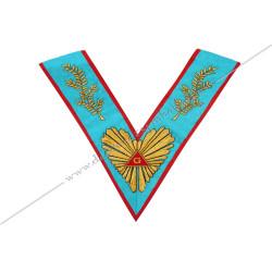 VRA 010R - Sautoir de Vénérable Maître du REAA. Grande gloire, acacia, broderies or. Décors franc-maçonnerie