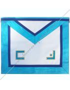 Tabliers maçonniques du Rite Misraim en satin ou simii cuir bordé bleu